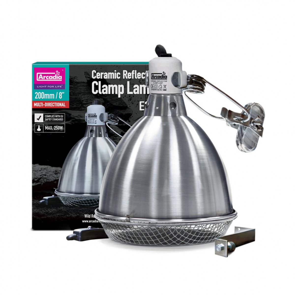 Arcadia Ceramic Reflector Clamp Lamp (E27), 200mm - Stainless Steel
